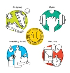 Jogging and running winner concept handdrawn icons vector