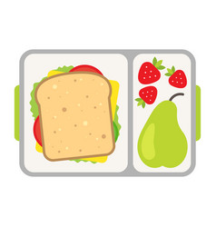 Lunch on a tray healthy meal for school snack vector