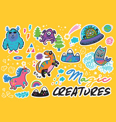 Magic creatures sticker set vector