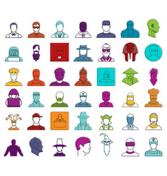 man avatar icon set color outline style vector image