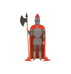 Medieval armed knight character in red mantle vector