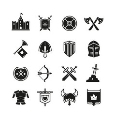 Medieval warriors shield and sword icons vector