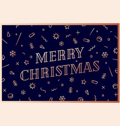 merry christmas greeting card with text merry vector image