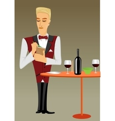 meticulous punctual waiter taking order vector image