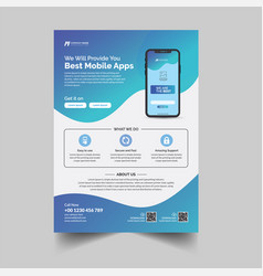 Mobile app advertisement flyer template vector