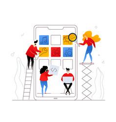 mobile app development - flat design style vector image