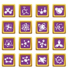 molecule icons set purple square vector image
