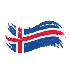 national flag of iceland designed using brush vector image