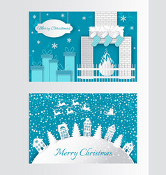 New year paper cut greeting card houses xmas trees vector