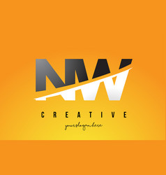 Nw n w letter modern logo design with yellow vector