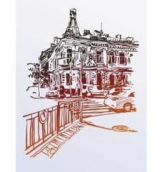 Original digital sketch of Kyiv Ukraine town vector