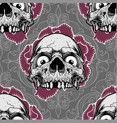 Pattern skull ornament with rose vector