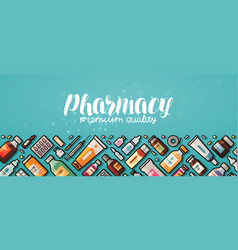 Pharmacy banner medicine medical supplies vector