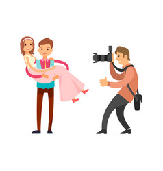 Photo reporter takes pictures groom holding bride vector