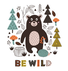 Poster bear and hedgehog in forest vector