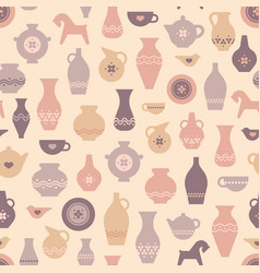 pottery seamless pattern with vases and vector image