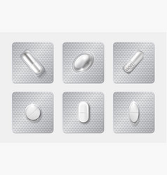 realistic pill blisters set medicine capsule and vector image