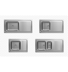 Realistic set stainless kitchen sinks top view vector