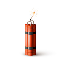 Red dynamite bomb with burning wick military vector