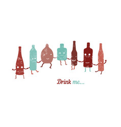 retro poster drink me set of funny bottles vector image