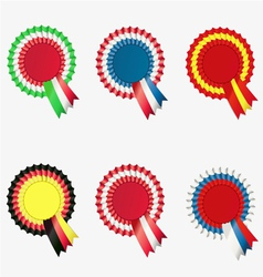 ribbon award button vector image