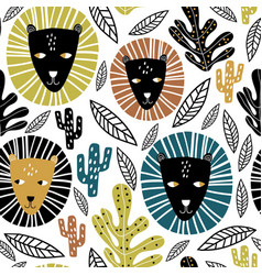 Seamless childish pattern lion faces and tropical vector