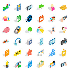 Seo site icons set isometric style vector