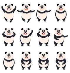 set flat panda icons vector image