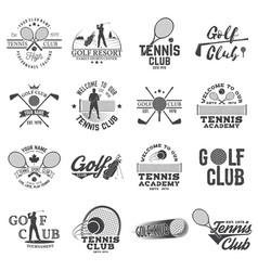 set golf club tennis club concept vector image