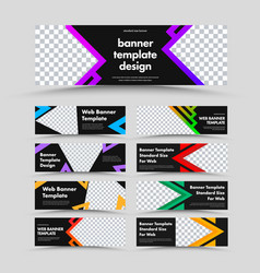 set horizontal black web banners with place vector image