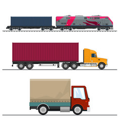 set of overland freight transport vector image