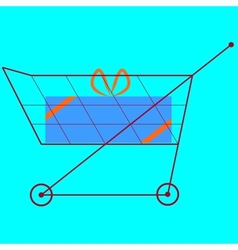 Shopping cart with gift vector