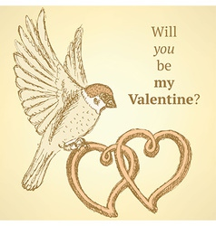 Sketch hearts and sparrow in vintage style vector image