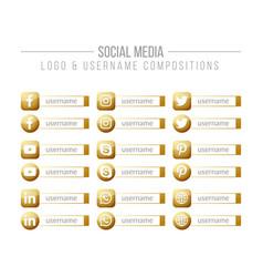 Social media golden logo and username box vector