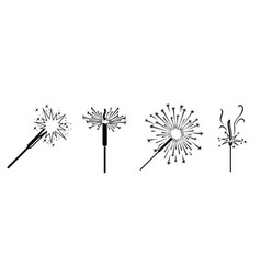 Sparkler icons set simple style vector