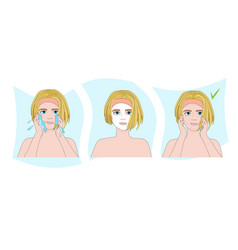 Steps how to apply face mask skincare spa facial vector