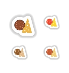 Stickers set a piece of sausage and cheese vector