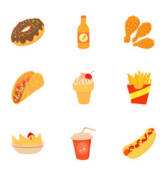 Tasty fast food icons set cartoon style vector