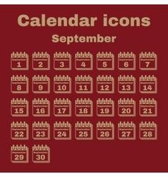 The calendar icon September symbol Flat vector