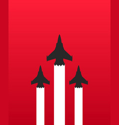 three military fighter jets with white trails on vector image