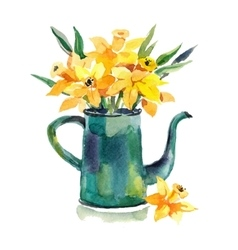 Watercolor hand drawn coffeepot with flowers vector