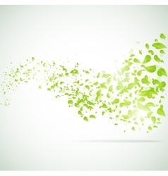 wave background with leaves vector image