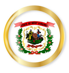 west virginia flag button vector image