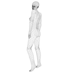 Wireframe a girl in a sexy pose from black vector