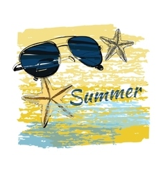 background summer with lettering shales on sand vector image