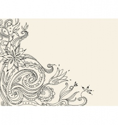 floral doodle card vector image vector image