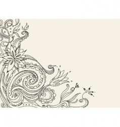 floral doodle card vector image