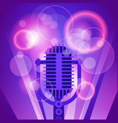 microphone music banner colorful pop art style vector image
