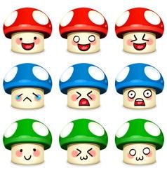 mushrooms icon set vector image