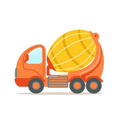 orange concrete mixing truck construction vector image